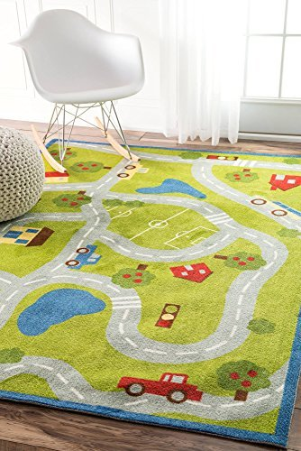 nuLOOM Nursery Country Road Trip Kids Area Rugs 5' x 8' Green [並行輸入品] B07HLHKZ1L