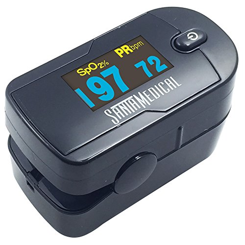 Santamedical-Generation-2-OLED-Fingertip-Pulse-Oximeter-Oximetry-Blood-Oxygen-Saturation-Monitor-with-batteries-and-lanyard-Black