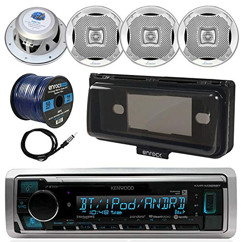 Kenwood KMR-M322BT In-Dash Marine Boat Audio Bluetooth USB Receiver, Waterproof Protective Cover Bundle Combo, 4x 400W 6.5