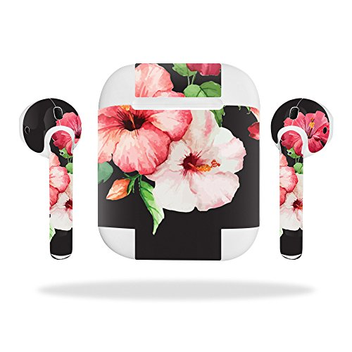 MightySkins Protective Vinyl Skin Decal for Apple AirPods wrap cover sticker skins Hibiscus
