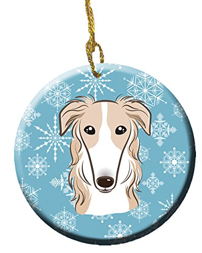 Caroline's Treasures BB1662CO1 Snowflake Borzoi Ceramic Ornament, Multicolor