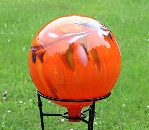Glass Gazing Ball Quot Circus Orange Iridized Quot 12 Inch By Iron