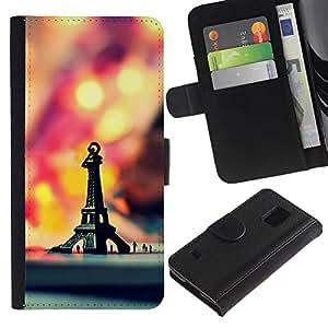 Billetera de Cuero Caso Titular de la tarjeta Carcasa Funda para Samsung Galaxy S5 V SM-G900 / Macro Hipster Retro Eiffel Tower / STRONG