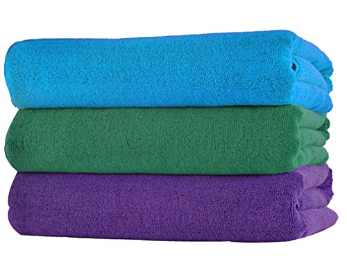 Simplife wholesale Microfiber Gym Towels Sports Travel Towels Super Absorbent Fast Drying Hand Face Towel Set 3-Pack 16 Inch X 32 Inch (Purple+Sky+Green, 16 Inch X 32 Inch) (Green Machine Purple 16 compare prices)