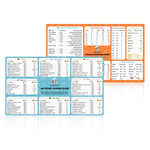 Helpers Cooking - Air Fryer Cooking Time Chart + Kitchen Conversion Chart, Magnetic Sticker, Quick Reference Guide, Conversion Chart for weights, Measures, Temperatures and Volume, Must-Have Air Fryer Accessories