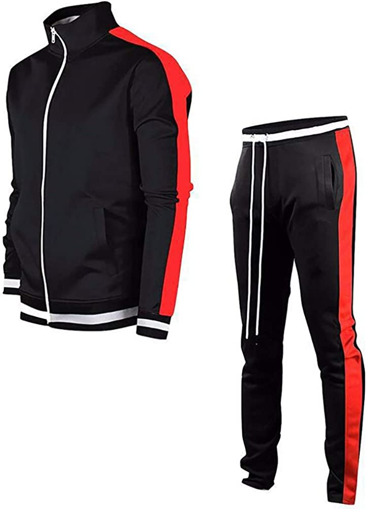 LeerKing Mens Tracksuit Activewear Joggers Sports Set Full Zip Sweat Suit for Youth Teens