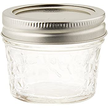 Ball Quilted Crystal Regular Mouth 4 oz Glass Mason Jars with Lids and Bands, Clear