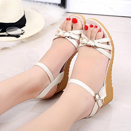 DEESEE(TM) Women Fashion Summer Slope With Flip Flops Sandals Loafers Shoes White E1ZaPZ06s