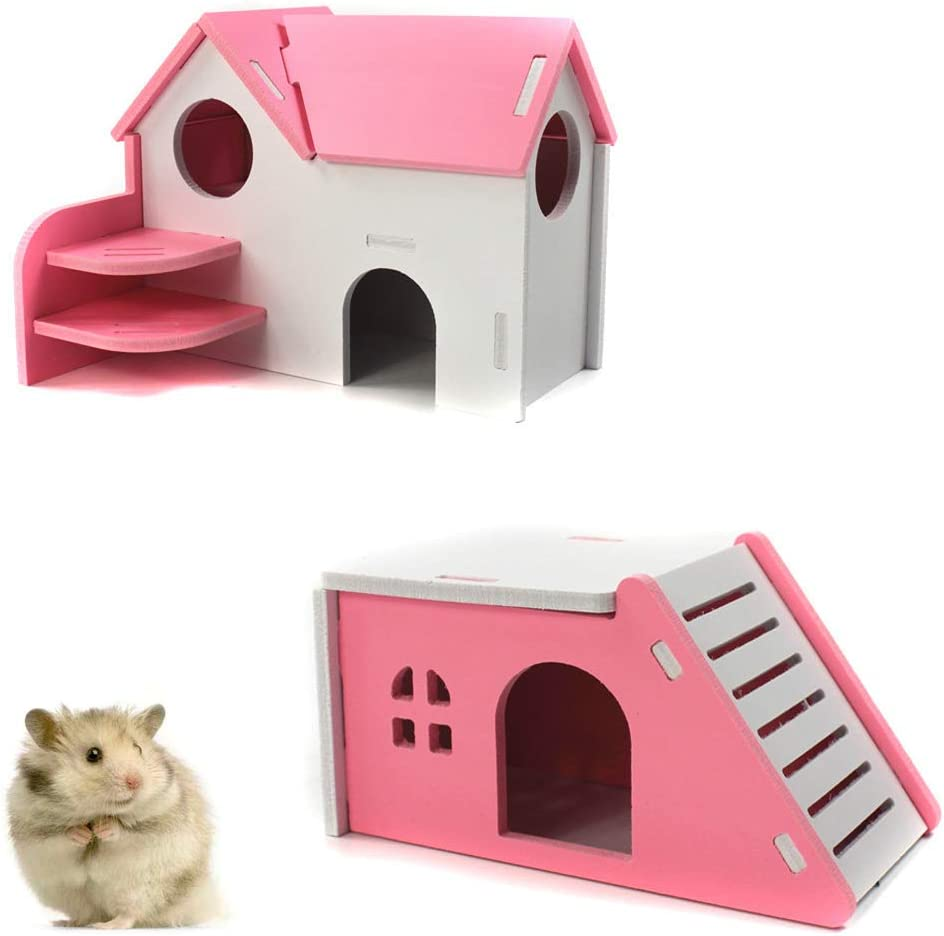 PIVBY Hamster Hideout House Wooden Living Hut Exercise Funny Nest Toy for Mouse, Chinchilla, Rat, Gerbil and Dwarf Hamster-2 Packs