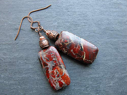 Large Red Jasper Natural Gemstone Earrings Beaded Boho Artisan Long Dangle Copper Handmade Genuine Semi Precious Stones Jewelry for Women