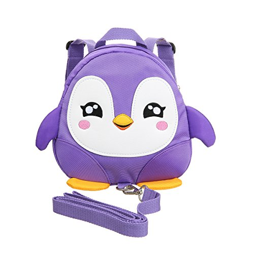 Baby Walking Safety Backpack Kids Anti Lost Backpack with Leash Nylon Cute Cartoon Penguin Mini Backpacks with Safety Leash for Baby 1-3 Years Old (Purple) ()
