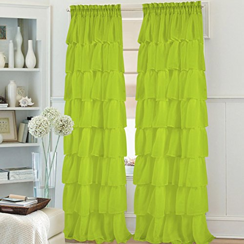 "1pc Gypsy ruffled fully stitched curtain panel drape window treatment or shower curtain in 25 colors and 4 different sizes (60x63"", lime green)"