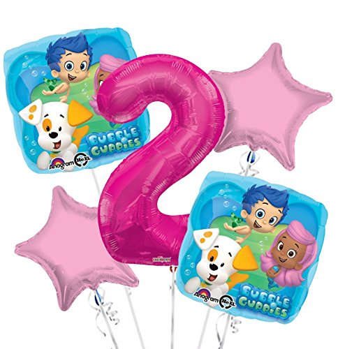 Bubble Guppies Balloon Bouquet 2nd Birthday 5 pcs - Party Supplies -