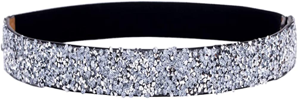 ALAIX Women's Stretchy Dress Belts Sparkle Bling Rhinestone Shiny Party Belt Elastic Waist Belt