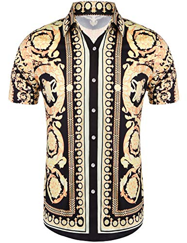 Daupanzees Mens Fashion Short Sleeve Street Wear Designer Polyester African Dashiki Luxury Print Button Up Casual Shirts (Gold M)