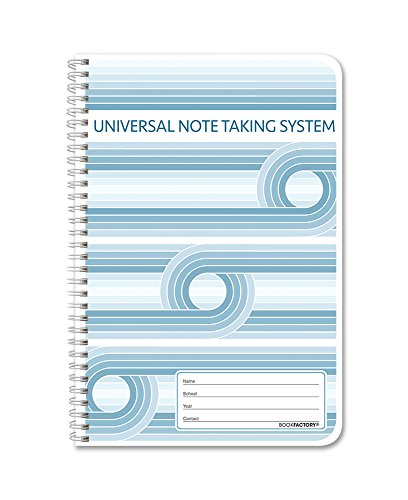 BookFactory Universal Note Taking System (Cornell Notes) / NoteTaking Notebook - 120 Pages, 6