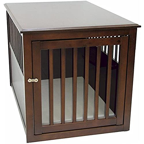 Crown Pet Products Pet Crate Wood Dog Crate Furniture End Table, Large Size  With Espresso Finish