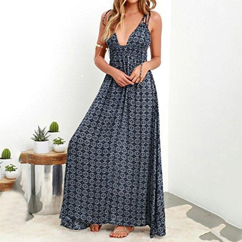 AIEason Women's Summer Boho Casual Long Maxi Evening Party Beach Dress Sundress Navy