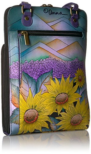 of Handpainted Anuschka Organiser Zippered Tuscany Hills of Anna Tuscany Hills Leather UwTYa