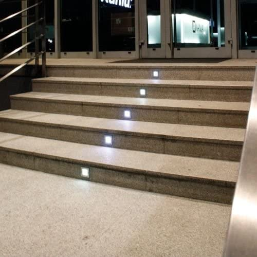 Light Design Dreesbach - Lote de 6 focos led empotrables para escalera (acero inoxidable, cuadrados, IP54, para 230 V): Amazon.es: Iluminación