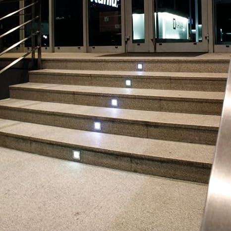 Light Design Dreesbach - Lote de 6 focos led empotrables para escalera (acero inoxidable, cuadrados, IP54, para 230 V): Amazon.es: Iluminación