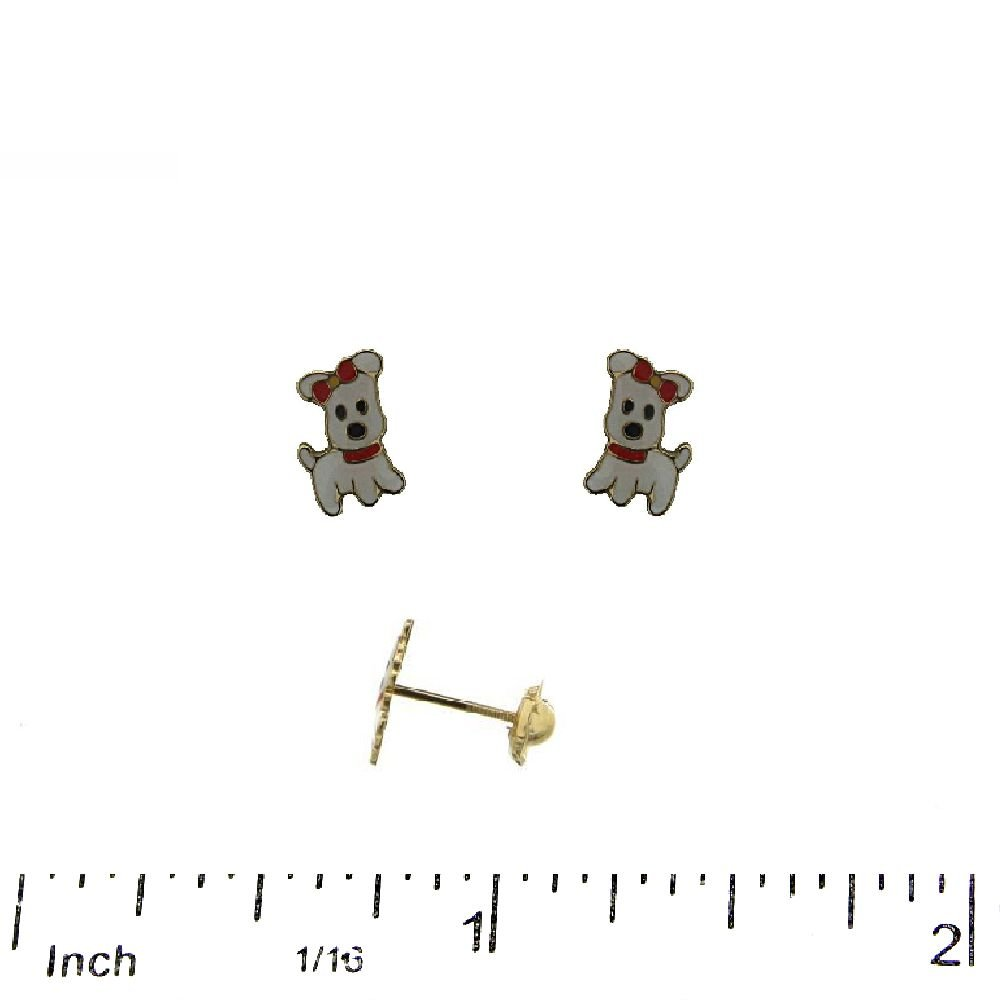 5mm X 8mm, 0.20 x 0.31 inch 18KT Yellow Gold White Enamel with Red Ribbon Dog Screwback Earrings