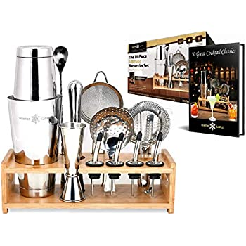 Pro Cocktail Shaker Set by WinterCastle: The 18-piece Ultimate Bartender Set: Boston Shaker, Jigger, Muddler, Bar Spoon, 3 Strainers, 4 Liquor Pourers with Caps, Tongs, Bamboo Stand, FREE Recipe EBook
