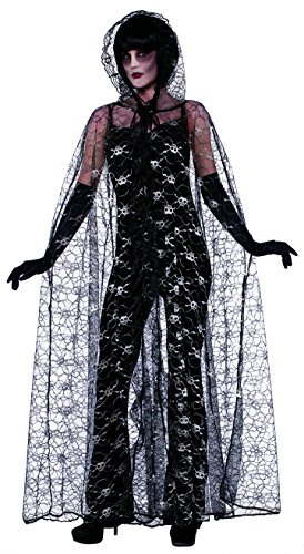 Forum Novelties Women's Bone Collection Skull Lace Hooded Cape, Black, One Size (New Orleans Costume)