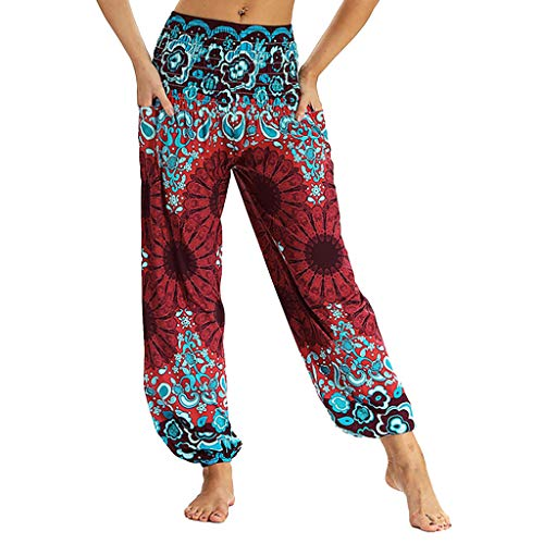 Harem Yoga Pants for Women,SMALLE◕‿◕ Men Women Smocked Waist Harem Hippie Boho Yoga Palazzo Casual Travel Pants Red