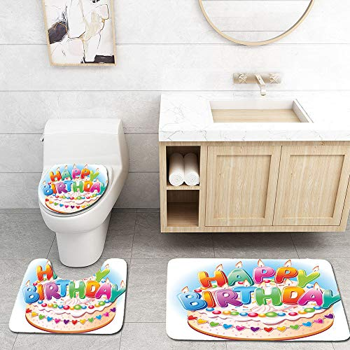 Pattern Custom Short Plush Bathroom 3 Piece Sets,Ultra Soft Non Slip and Absorbent ,Describe- Birthday Decorations for Kids Cartoon Happy Birthday Party Image Cake Candles Hearts Print