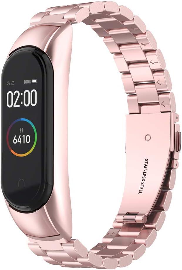 Simpeak Correa Compatible con Xiaomi Mi Band 4 (5.5-8.1 Pulgadas), Pulseras de Acero Inoxidable Wristband Repuesto Bandas Compatible con Xiaomi Mi Band 4 Fitness - Rosa