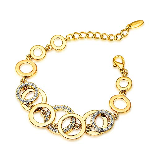 Viennois Rose Gold & Gold Color Circles Bracelet & Bangles for Women Rhinestones Paved Double Layer Round Female Bracelet (Gold Color)