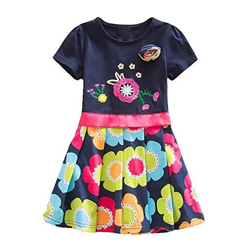 (KuKaVeela Toddler Flower Girl Dress Short Long Sleeve Navy Baby Girls Party)