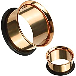 BodyJ4You Ear Tunnel Plugs Single Flare Gauges 20MM Rose Goldtone Flesh Stretching Jewelry