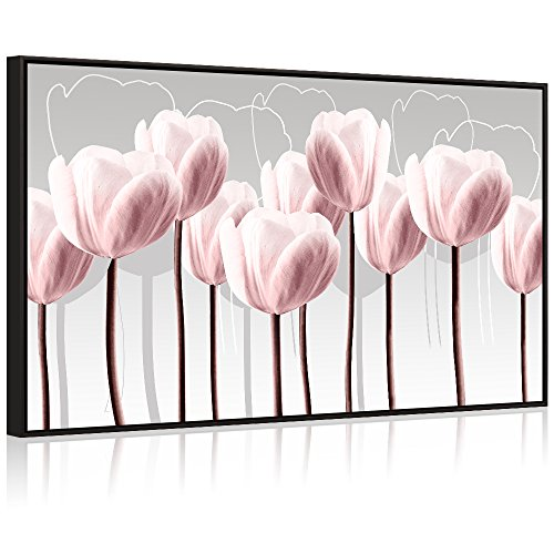 Visual Art Decor Modern Floral Painting Fancy Pink Tulip Canvas Art Giclee Prints Picture Artwork with Black Floater Frame for Home Living Room Decoration