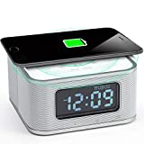 Homtime Alarm Clock with Radio - Wireless Charger Bluetooth Speaker and Dimmable USB Charging Port Hands-Free for Bedroom Office Home Hotel White