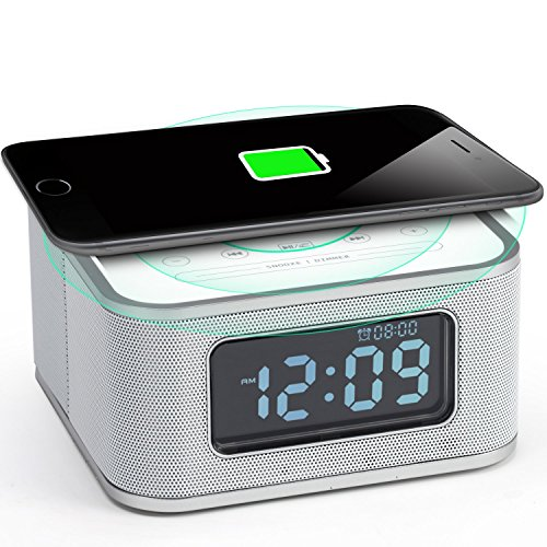 Homtime Alarm Clock Radio - Wireless Charger Bluetooth Speaker Dimmable USB Charging Port Hands-Free Bedroom Office Home Hotel White