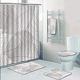 Philip-home 5 Piece Banded Shower Curtain Set Skeleton Leaf Pattern Adornment