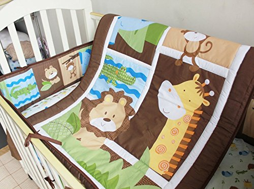 NAUGHTYBOSS Unisex Baby Bedding Set Cotton Primeval Forest Monkey Crocodile Animals Pattern Quilt Bumper Bedskirt Fitted Diaper Bag 8 Pieces Set by NAUGHTYBOSS (Image #5)