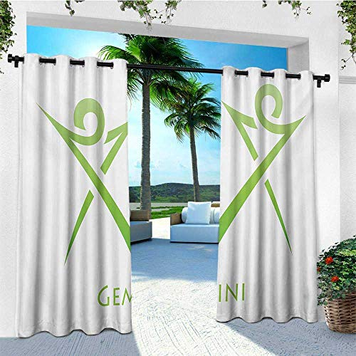 - leinuoyi Zodiac Gemini, Outdoor Curtain Pole, Illustration of Simplistic Lines Abstract Human Figures in Green, for Pergola W96 x L108 Inch Pale Green and White