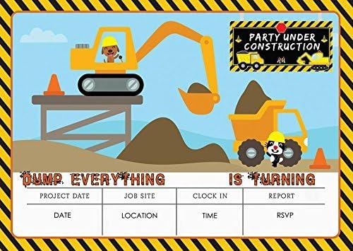 DIGGER CONSTRUCTION BUILDER BIRTHDAY PARTY INVITES INVITATIONS X 10 PACK /& ENVELOPES