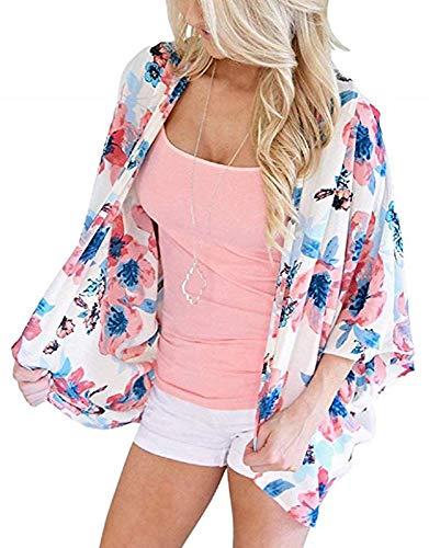Womens Summer Floral Cover ups Kimono Cardigans Flowy Print Chiffon Capes (PinkWhite,3XL