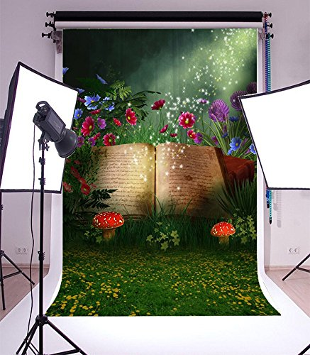 5X7FT Laeacco Vinyl Thin Backdrop Photography Background Magical Elf Opening Book Fairy Tale,Fantasy Woods Grass and Flowers Mushroom Scene,1.5x2.2m Photo Studio (Mushroom Elf)