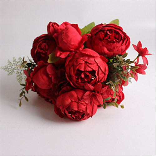 Silk Flower European 1 Bouquet Artificial Flowers Fall Vivid Peony Fake Leaf Wedding Home Party Decoration C deep red