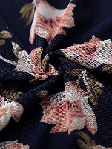 Femme Fonce Shirt T Bleu Blouse Manches Avant Pliss BaiShengGT Longues g1dqX