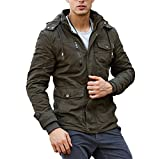 CRYSULLY Men's Multi Cargo Pocket Tactical Safari Jacket Fall Cotton Cool Field Fleece Jacket Army Green