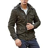 CRYSULLY Men's Multi Cargo Pocket Tactical Safari Jacket Fall Cotton Cool Field Fleece Jacket Army Green