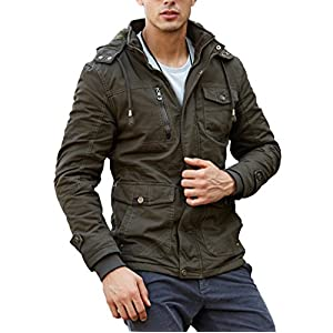 CRYSULLY Men's Winter Slim Fit Casual Thicken Multi-Pocket Outwear Jacket Coat with Removable Hood