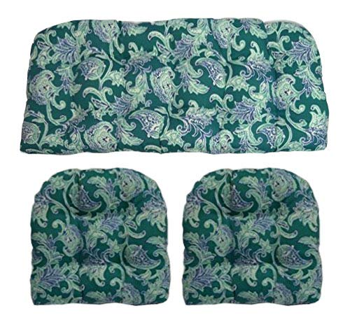 Resort Spa Home Decor 3 Piece Wicker Cushion Set - Indoor/Outdoor Teal Floral Paisley Pattern Fabric Cushion for Wicker Loveseat Settee & 2 Matching Chair Cushions (Paisley Settee)