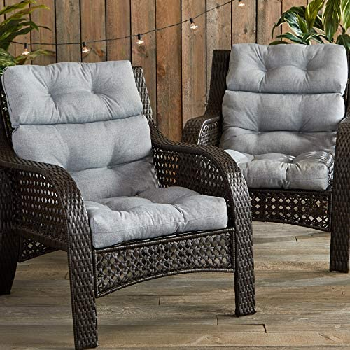South Pine Porch AM6809S2-HEATHER Heather Gray Outdoor High Back Chair Cushion, Set of 2